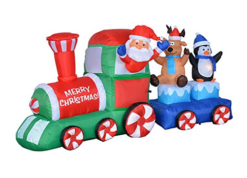 7 Foot Long Lighted Christmas Inflatable Santa Claus Reindeer Penguin on Train Indoor Outdoor Garden Yard Party Prop Decoration