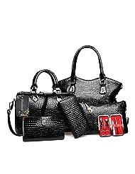 Donalworld Women 6 Pcs Elegant Classic Crocodile PU Leather Handbag Tote Shoulder Bag Clutch Purse Set