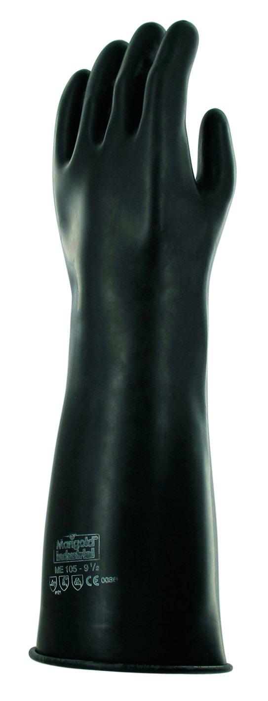 Ansell Emperor ME105 Gants en latex de caoutchouc naturel, protection contre les produits chimiques et les liquides, Noir, Taille 7.5 (Sachet de 1 paire) Ansell Emperor ME105 / 7.5