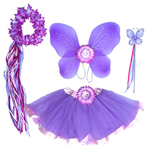 5 PC Girls Lavender and Pink Fairy Set with Wings, Wand, Halo and Flower Clip Age 2-7 -
