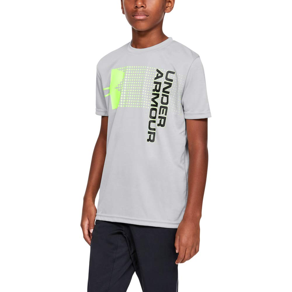 Under Armour Boys' Crossfade T-Shirt, Mod Gray (011)/Lime Light, Youth Small by Under Armour
