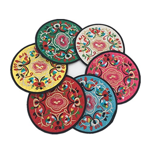 coasters-for-drinksvintage-ethnic-floral-design-placemat-chinese-silk-place-mats-value-pack6pcs-set-
