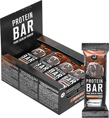 nu3 Barrita de Proteínas - 12 x 50g – Barras con proteína (20g) sabor a chocolate – Para mantener masa muscular – Mejoradas con whey protein, creatina ...