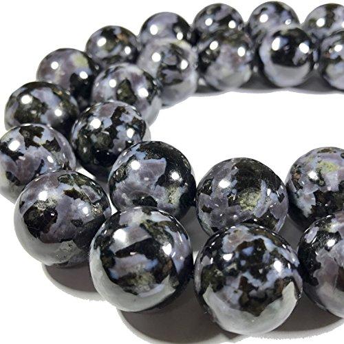 - [ABCgems] Rare Madagascan Black Tourmaline in Feldspar (Exquisite Matrix) Smooth 16mm Round Beads For Jewelry Making
