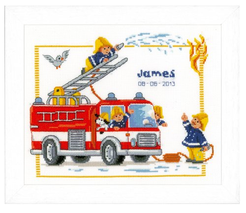 Vervaco Birth Record Fire Engine Counted Cross Stitch Kit, Multi-Colour