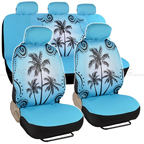 Universal Fit Automotive Gift Set Two Lowback Front Seat Covers and One Rear Bench Seat Cover - Blue Palm Tree Beach