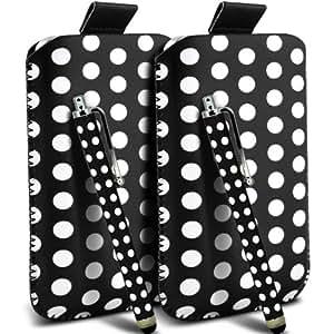 Sony Xperia S Lt26i Protección Premium Polka PU ficha de extracción Slip In Pouch Pocket Cordón piel cubierta de la caja de liberación rápida y Stylus Pen (Twin Pack) Blanco y Negro por Spyrox