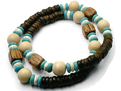 BrownBeans, Wood Beads Tribal Surf Style Men's Choker Stretch Necklace (CNKT1000B) (A02-18.0)