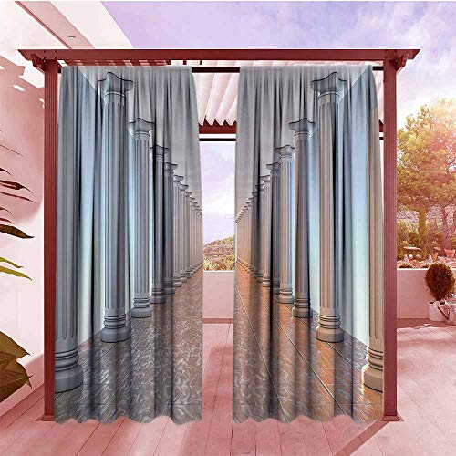 - Rod Pocket Pattern Curtains Apartment Decor Collection Corridor with Columns Marble Floor Old Library Classic Government Buildings Vintage Deco Outdoor Privacy Porch Curtains W96x72L Amber