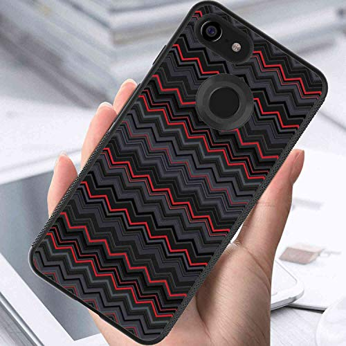 (Case Fits for Google Pixel 3 XL 6.3in Red and Black Zigzag Chevron Design with Bold Thin Layers Print Pale Grey Charcoal Grey Scarlet )