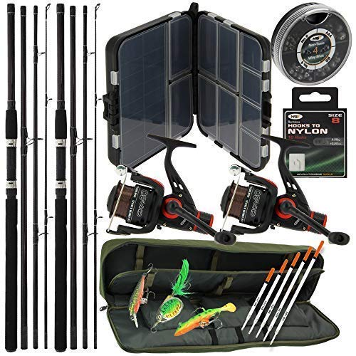 Deluxe Carp Coarse Travel Fishing Including 2x 9ft 4pc Rods & 2x 1BB Reels Set + Padded Holdall & Floats + Klone Lures…
