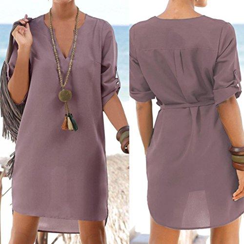 Amlaiworld Verano de Noche de de Mujer Vestido Vestido Sexy Corto de Señora Púrpura Playa Vestido Cóctel 8Eqrw8xp