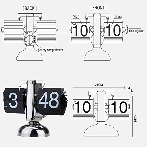 Anself Small Scale Table Clock Retro Flip Over Clock Stainless Steel Flip Internal Gear Operated Quartz Clock by Anself (Image #4)