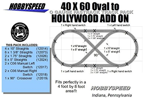 Lionel FASTRACK 40X60 Oval to A Hollywood Track Layout Set ADD-ON-Pack