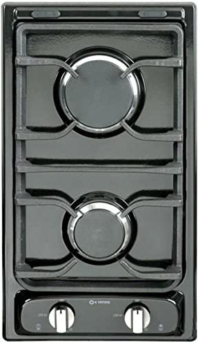 "12"" Deluxe Gas Cooktop with 2 Burners Finish: Black 51WNz-wLu-L"