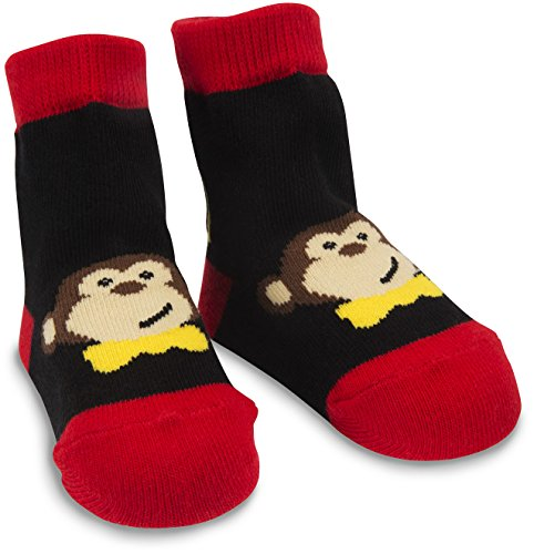 Izzy & Owie One Size Fits All Baby Red & Black Monkey Socks ()