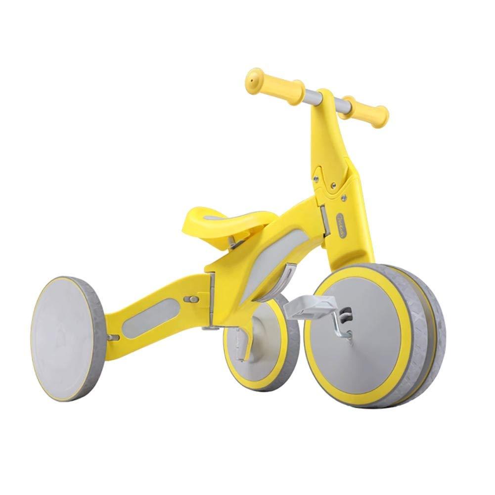 Bicicletta YXX Bilanciere Bimbo Giallo con Pedale a Piedi, 4 Ruote per Bimbi da 1 a 3 Anni