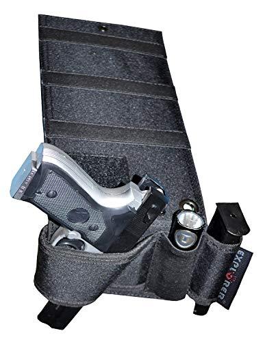 Explorer Adjustable Under Mattress Bedside Pistol Holster Car Seat Desk Closet Gun Handgun Holster with Flashlight Loop Magazine Holder