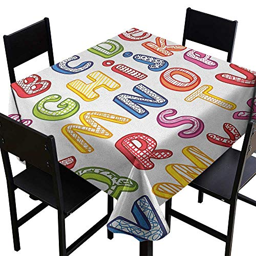 (SKDSArts Square Tablecloth Plastic Educational,Hand Drawn Colorful 3D Style ABC Letters with Kids Patterns Joyful Fun Design, Multicolor,W70 x L70 Square Tablecloth )