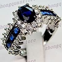Phetmanee Shop Size5-12 Oval Cut Blue Sapphire Crystal Ring 10KT White Gold Filled Wedding Band (5)