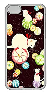 Lovely Hard Platic Transparent PC Case Shell for iPhone 5C,Lovely Cat Pattern Case for iPhone 5C