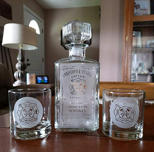 Personalized Square First Responder Whiskey Label Decanter - Hand Sand Etched