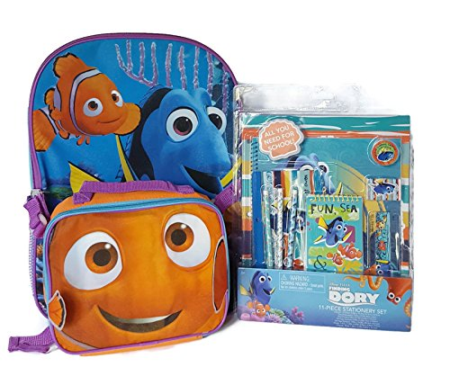 Finding Dory Back to School Backpack Lunch Bag Stationery Set Bundle of 13 items