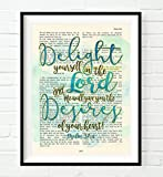 Delight yourself in the Lord - Psalm 37:4 Christian ART PRINT, UNFRAMED,Vintage Bible verse scripture abstract watercolor encouragement wall decor poster gift, 8x10 inches