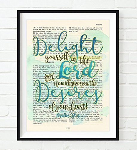 Delight yourself in the Lord - Psalm 37:4 Christian ART PRINT, UNFRAMED,Vintage Bible verse scripture abstract watercolor encouragement wall decor poster gift, 8x10 inches by Art for the Masses