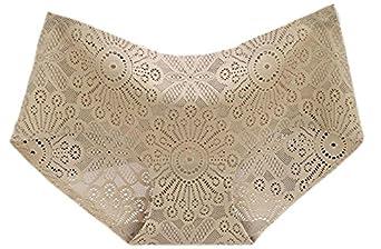 Papijam Womens Sexy 2 Pack Hipster Lace Jacquard Comfy Panties at