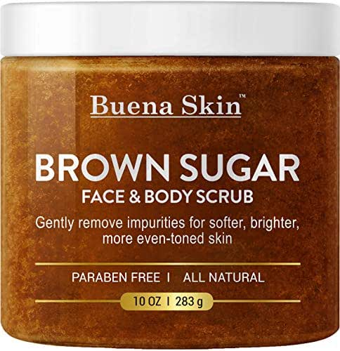 Brown Sugar Exfoliating Face & Body Scrub - Reduces the Appearance of Acne Scars, Stretch Marks, Cellulite, and Varicose Veins 10 oz Buena Skin