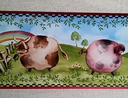 Cow Border - Farm Animals Cows Chickens Sheep Pigs Wallpaper Border KC063133B