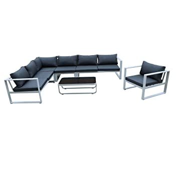 Pierimport Salon de Jardin Miami 6 pièces en Aluminium Blanc ...