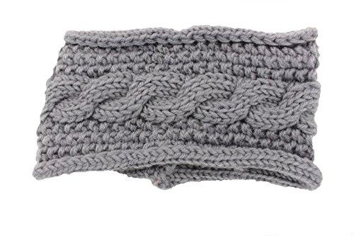 Violet & Virtue Women's Cozy Cable Knit Infinity Headband (Grey)