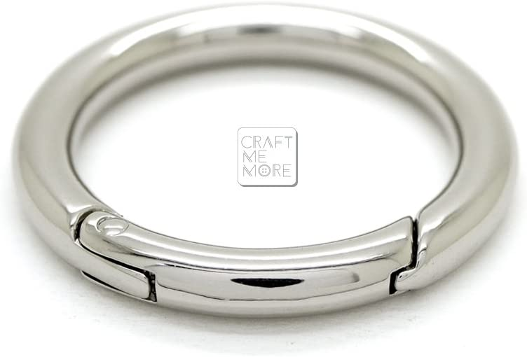 Silver CRAFTMEmore Large O Ring Spring Opening Purse Making Snap Trigger Clip Inside 2 Inches Pack of 2