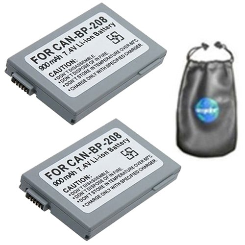 Bp 315 Replacement Battery (amsahr ValuePack (2 Count): Digital Replacement Camera and Camcorder Battery for Canon BP-208, BP-308, BP-214, BP-315, DC10, DC20, DC22 Optura HV10 - Includes Lens Accessories Pouch)