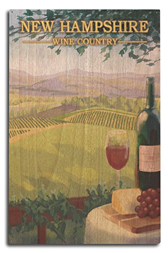 - Lantern Press New Hampshire - Wine Country Scene (10x15 Wood Wall Sign, Wall Decor Ready to Hang)