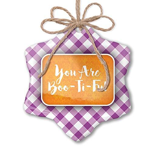 NEONBLOND Christmas Ornament You are Boo-Ti-Ful Halloween Orange Wallpaper Purple -