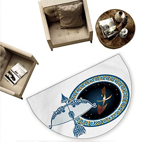 Zodiac Sagittarius Half Round Door mats Colorful Composition of Swirls Curves with Vintage Bow and Arrow Motif Bathroom Mat H 70.8