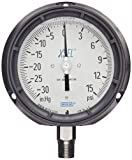 WIKA 9833922 Process Pressure Gauge, Liquid-Filled, Stainless Steel 316L Wetted Parts, 4-1/2'' Dial, 30''Hg-0-15 psi Range, +/- 0.5% Accuracy, 1/2'' Male NPT Connection, Bottom Mount