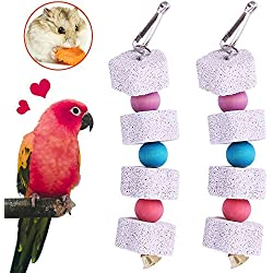 Unibene Parrot Chewing Toy, Bird Beak Grinding Stone Bell, Lava Block Calcium Supplement Food African Greys Amazon Conure Eclectus Budgies Parakeet Cockatiel Hamster Chinchilla Rabbit, 2 Pack