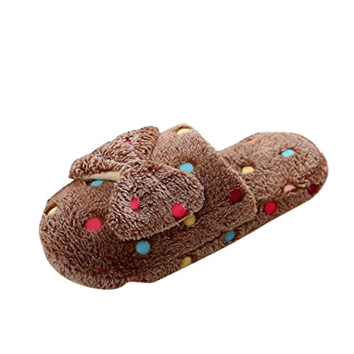 Gillberry Women Winter Indoor Sandal Home Shoes Faux Fur Warm Slippers Coffee