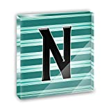 Letter N Initial Black Teal Stripes Acrylic Office Mini Desk Plaque Ornament Paperweight