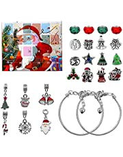 Advent Calendar 2021 Christmas Countdown Calendar Xmas Tree Snowman Jewelry Gift Boxes DIY Charm Bracelet Making Kit with 22 Charms Beads and 2 Bracelets for Boys Girls and Adults