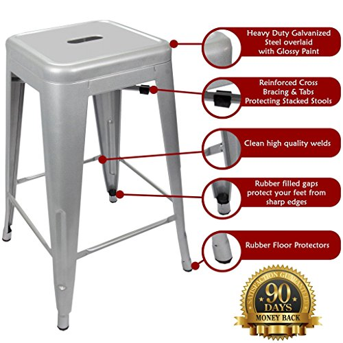 24 Counter Height Bar Stools Silver By Urbanmod Set
