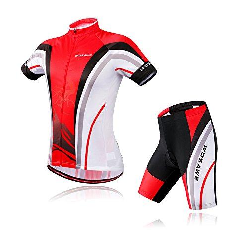BIYLACLESEN Track Cycling Short Sleeve t Shirt For Men Riding Bike Biking Shirt Jersey L Red/Black
