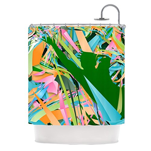 Kess InHouse Danny Ivan ''Soccer Defense'' Green Pink Shower Curtain, 69 by 70-Inch by Kess InHouse