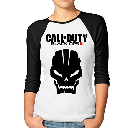 Price comparison product image Women's Fashion Call Duty Video Game Skull 7 Split Sleeve Tees Black Size XXL