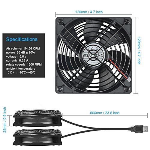 ELUTENG 120mm Fan 2 in 1 Dual USB Fan Computer Cooling Ventilator DC 5V Compatible for Laptop/Playstaion/Xbox One/Mini PC/Router/DVR Radiator Fan by ELUTENG (Image #6)
