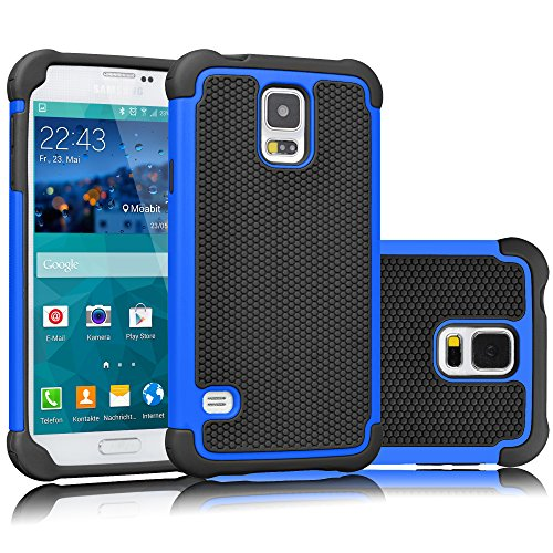 Tekcoo Galaxy S5 Case, [Tmajor] Sturdy [Blue/Black] Shock Absorbing Hybrid Rubber Plastic Impact Defender Rugged Slim Hard Case Cover Bumper for Samsung Galaxy S5 S V I9600 GS5 All Carriers (Aero Armor Nexus)